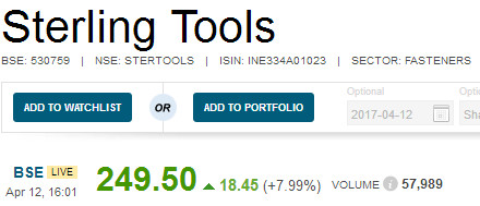 Sterling Tools Multibagger