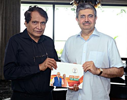 Uday Kotak with Suresh Prabhu